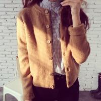 春装新款女装针织衫开衫韩版宽松外搭毛衣秋冬女士短款上衣外套厚 均码