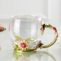 珐琅彩水杯套装珐琅杯带盖杯子小清新耐热玻璃杯茶杯女 菊花矮单支 透明杯 无勺+简装