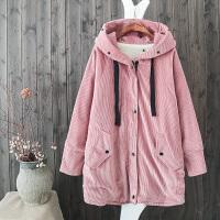 QI冬装新韩版羊羔毛 中长连帽棉衣女加厚灯芯绒外套1.6
