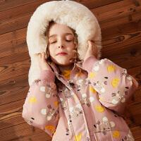 【超品日3件2折:295】巴拉巴拉旗下巴帝巴帝女2019秋冬新款甜趣可爱好搭羽绒服