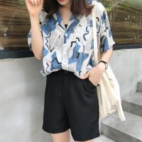 夏装韩版女装chic复古印花短袖衬衣上衣宽松显瘦中长款V领衬衫女 花色 均码