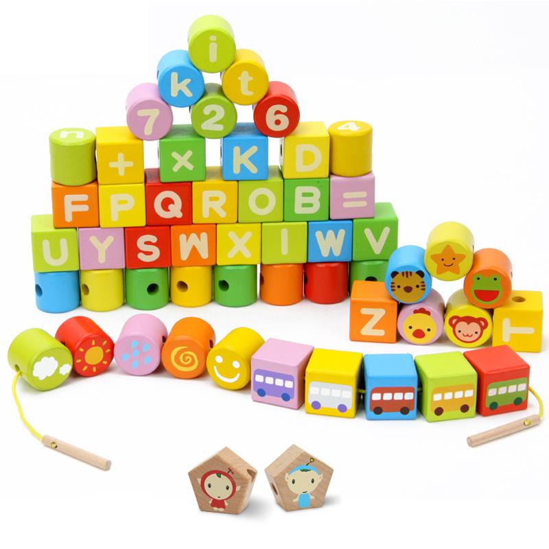 方方圆圆儿童字母数字认知串珠玩具 54粒宝宝手工穿线积木