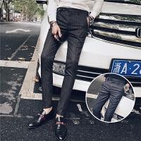 新款2018秋冬男士休闲裤韩版时尚条纹西裤青少年时尚长裤烫裤子