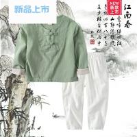 民族风童装春装儿童唐装汉服男童棉麻复古套装女童中国风国学服装