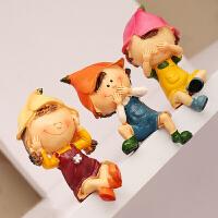 创意装饰品小摆件树脂工艺品三不熊吊脚娃娃大号可爱动物