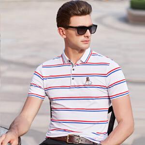 短袖T恤男翻领2019年夏季新款男装翻领青年条纹男士POLO衫上衣服