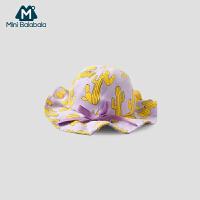 【满200减130】迷你巴拉巴拉女婴儿遮阳帽儿童旅行帽2019春新款宝宝薄款太阳帽