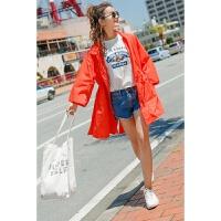 防晒衣女中长款夏季新款韩版宽松百搭沙滩防晒服九分袖外套潮
