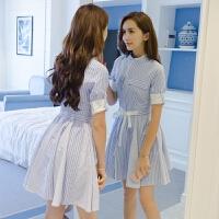 连衣裙女士夏季新款短袖条纹韩版女装收腰显瘦时尚衬衫裙子 天蓝色