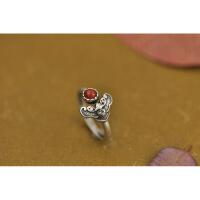 南红戒指女925银牡丹花蝙蝠气质开口指环手工复古时尚纯银饰品 开口可调节14--16号