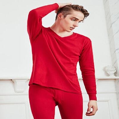 Camel/骆驼保暖内衣V领男士纯棉薄款打底秋衣裤全棉青年时尚套装