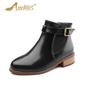 【冬季清仓】阿么粗跟短靴中跟英伦马丁靴百搭单靴切尔西靴子复古踝靴女鞋