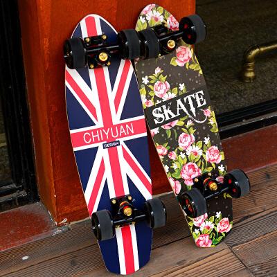 儿童滑板刷街代步大鱼板枫木小鱼板香蕉板新手四轮滑板车