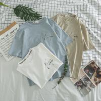 夏季潮流T恤男短袖青年修身字母刺绣圆领体恤日系圆领打底衫