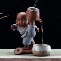 创意紫砂小和尚滤茶器家用个性可养茶宠茶漏摆件功夫茶具茶盘配件