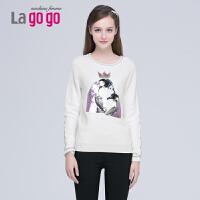Lagogo/拉谷谷冬季新款拼接套头女针织衫 EDI531H607