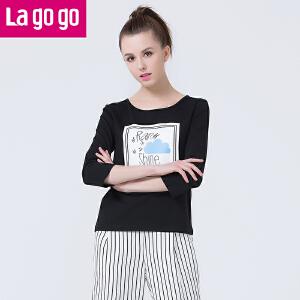 Lagogo拉谷谷2016年夏季新款打底衫女长袖百搭圆领上衣直筒T恤潮