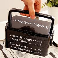 【满减】欧润哲 1.9L黑色日式双层提手便当盒 便携户外饭盒时尚外出旅游野餐用