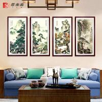 背景墙壁挂画壁画国画山水春夏秋冬客厅装饰画