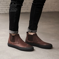 米乐猴 潮牌秋季英伦风切尔西靴短靴男鞋马丁靴男布洛克套筒男靴子高帮鞋男鞋