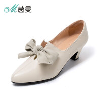 茵曼女鞋尖头平底鞋女浅口蝴蝶结平跟单鞋舒适套脚女鞋4873045061