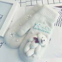 韩版可爱卡通学生羊绒羊毛手套女秋冬加绒加厚保暖骑车连指手套女