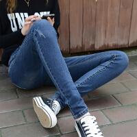 Lee Cooper 牛仔裤女新款韩版修身显瘦百搭显高九分紧身小脚裤刮烂牛仔裤女