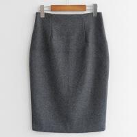 2018秋冬羊毛羊绒包臀裙中裙高腰包裙冬开叉半身裙一步裙毛呢