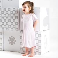 夏季宝宝男女儿童全棉短袖睡裙婴幼儿套头分腿睡袍薄款