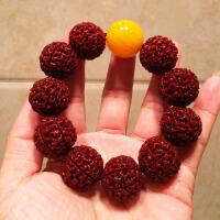 印尼原籽红皮爆肉6六7七8八9九瓣大金刚菩提子手串 男女佛珠手链