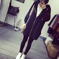 慈姑春季新款韩版纯色宽松中长款连帽拉链学生开衫外套女长袖黑色卫衣 X