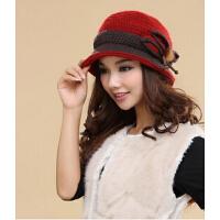 新款时尚日韩版秋冬季加绒双层保暖手工毛线帽羊毛帽子 毛线女士