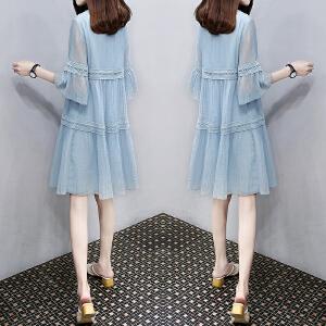哆哆何伊2018夏装新款韩版A字娃娃裙子宽松显瘦中长款雪纺大码连衣裙女夏