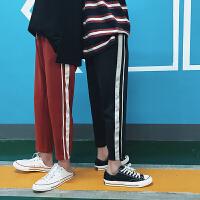 港风夏季条纹撞色休闲运动裤九分裤男士韩版宽松哈伦裤子