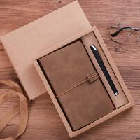 a6工作记事本定做手账本复古风文具用品商务皮面笔记本子礼盒套装