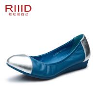 RIIID夏季新款女鞋 软底单鞋真皮休闲鞋女拼色平底鞋正品