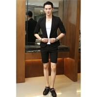 夏季男士小西装七分袖韩版修身短裤西服套装青年英伦时尚两件套潮