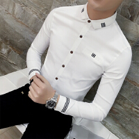 男士长袖衬衫修身贴带装饰发型师衬衣潮