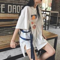 侧边系丝带短袖T恤女夏装新款韩版宽松显瘦百搭中长款学生连衣裙