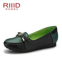 RIIID夏季女鞋真皮舒适单鞋浅口圆头拼色平跟单鞋女正品