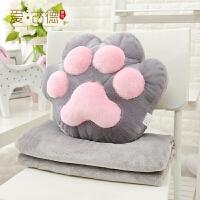 猫爪熊掌抱枕空调毯子办公室午睡毯子空调被子靠垫腰靠