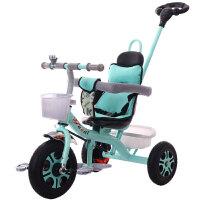 儿童三轮车脚踏车1-3-5-2-6岁大号轻便婴儿手推车宝宝自行车 典雅黑 实心轮二合一双刹