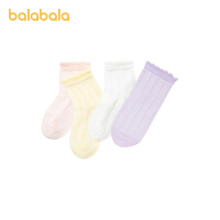 【8.4券后预估价:29.8】巴拉巴拉女童袜子夏季薄款儿童网眼袜船袜中筒袜甜美女小童四双装