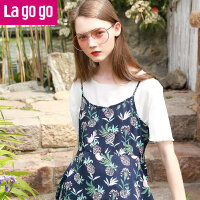 【清仓3折价65.7】Lagogo2019夏季新款百搭印花圆领T恤短袖小碎花吊带两件套上衣女