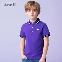 【3件3折:65.7】安奈儿童装男童休闲小翻领短袖T恤夏装新款