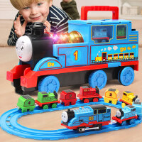 大号惯性小火车轨道套装玩具电动声光儿童男孩汽车合金模型益智