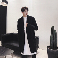 新款暗黑系MAMC潮男士韩版宽松中长款无扣黑色呢料风衣外套男装个