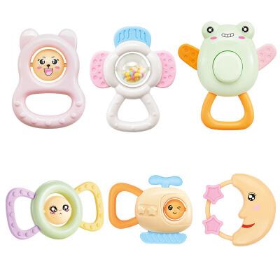 橙爱快乐成长宝宝手摇铃6件套新生婴儿牙胶益智玩具3-6-12个月益智玩具限时钜惠