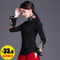中国风刺绣上衣 民族风女装春装立领绣花修身长袖t恤女大码打底衫