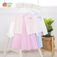 贝贝怡女童外套连衣裙新款洋气时髦宝宝外穿纯棉公主裙套装